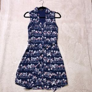Patterned Blue dress with a tie belt (sold out)